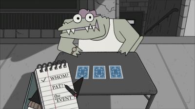 """Screenshot aus """"Later Alligator"""": Der Detektiv hält einen Notizblock in der Hand und befragt einen Trickbetrüger-Alligator (Pillow Fight Games)"""