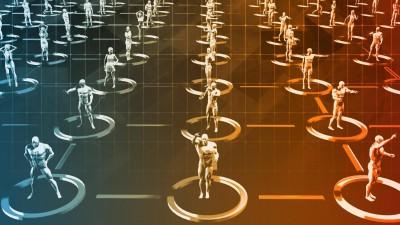 Digital animierte Figuren stehen in einem festen Muster aufgereiht. (imago/ kentoh Panthermedia)