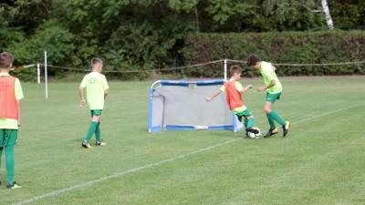 Vier Kinder kämpfen auf einem Fußballrasen an einem kleinen Tor um den Ball. (dpa / David Schwarz)