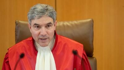 Stephan Harbarth, Vorsitzender des Ersten Senats des Bundesverfassungsgerichts, währendeiner mündlichen Verhandlung vor dem Bundesverfassungsgericht. (dpa Pool / Sebastian Gollnow)