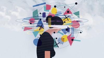Illustration: Bunte Formen wirbeln umden Kopf einer Frau mit leicht gesenktem Kopf herum. (imago / James Boast)