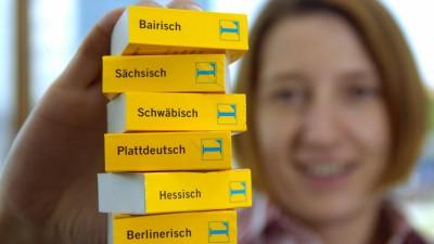 Eine Frau hält einen Stapel Mini-Wörterbücher von Langenscheidt in den Ausgaben Hessisch, Plattdeutsch, Sächsisch, Schwäbisch, Berlinerisch und Bairisch in die Kamera (picture alliance/ dpa/ Peter Kneffel)