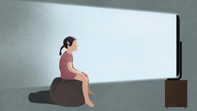 Ein Mädchen schaut in einen Fernseher (Illustration) (imago images / fStop Images / Malte Mueller )