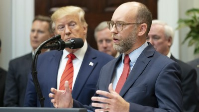 October 9, 2019, Washington, DC, United States of America: U.S President Donald Trump, left, listens to Office of Management and Budget Acting Director Russ Vought, before signing Executive Orders on Transparency in Federal Guidance and Enforcement during a ceremony in the Roosevelt Room of the White House October 9, 2019 in Washington, DC. (Credit Image: © Shealah Craighead via ZUMA Wire | (Planet Pix via ZUMA Wire)
