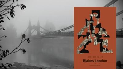 """Buchvover: Iain Sinclair: """"Blakes London"""", Hintergrund: Hammersmith Bridge, London im Nebel (Buchcover: Matthes & Seitz Verlag, Hintergrund: imago images / ZUMA Press)"""
