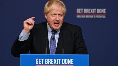 Der britische Premierminister Boris Johnson stellt das neue Wahlprogramm seiner Partei vor. (AFP)