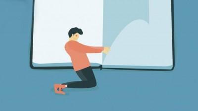 Eine Illustration zeigt einen Mann der die Seiten eines überdimensionierten Buchs umblättert. (imago/Alice Mollon)