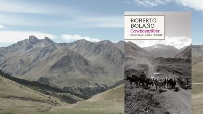 "Buchcover: Roberto Bolaño: ""Cowboygräber"" (Buchcover: Carl Hanser Verlag, Hintergrund: Gerda Bergs)"