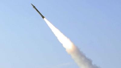 Das Bild zeigt eine iranische Fateh-110 Boden-Boden-Rakete (picture-alliance / dpa / Iranian Defense Ministry / Vahid Reza Alaei)