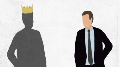 Illustration eines Mannes, der seinen Schatten betrachtet, der eine Krone trägt. (Getty Images / Malte Mueller)