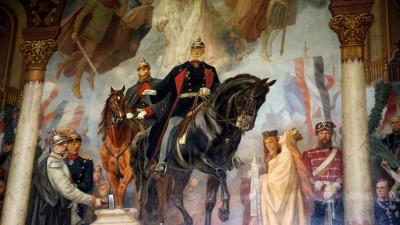 Ein Wandgemälde zur Reichsgründung 1871. (imago / ecomedia/ Robert Fishman)
