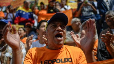 Protestkundgebungin Caracas gegen Mängel in der Versorgungsmängel und Venezuelas Präsident Nicolas Maduro (AFP / Federico Parra)