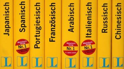Mehrere Langenscheid Fremdsprachen-Wörterbücher stehen in einem Regal. (picture-alliance/ ZB / Arno Burgi)