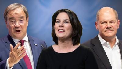 FOTOMONTAGE: Die Kanzlerkandidaten zur Bundestagswahl 2021: v.li:Armin Laschet (CDU), Annalena Baerbock, (Bündnis 90/die Gruenen), Olaf Scholz (SPD). (picture alliance / dpa / SvenSimon)