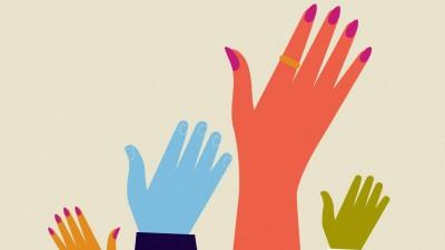 Menschen heben ihre Hände für die Abstimmung. (imago/ Ikon/ Andy Baker)