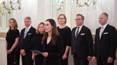 Die finnische Ministerpräsidentin Sanna Marin während des Besuches imPräsidentenpalast. (picture alliance / Lehtikuva / Jussi Nukari)