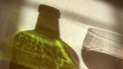 Der Schatten einer Rotweinflasche und eines Rotweinglases auf einer Wand. (imago / McPhoto)