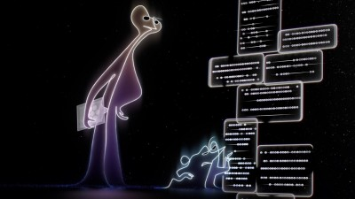 """Filmszene aus """"Soul"""": Zwei Figuren stehen vor einer animierten Wand, auf der etwas geschrieben steht. (Picture Alliance / dpa / Disney+ / Courtesy Everett Collection)"""