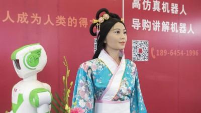 Ein Roboter in traditionell chinesischer Kleidung auf einer Messe in Shanghai 2017. (picture alliance / Wang Gang)