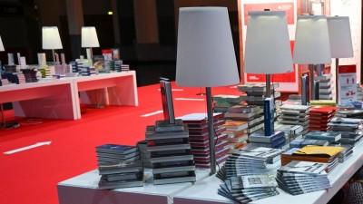Buchstand in der Festhalle der Frankfurter Buchmesse 2020 (picture alliance/Arne Dedert/dpa pool/dpa)