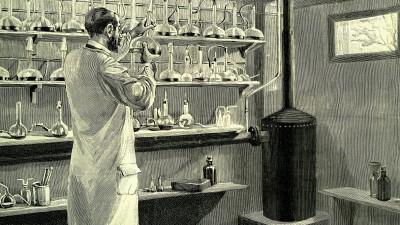 Apotheker mit Anti-Diphterie-Serum, historische Illustration, 1882 (picture-alliance/imageBroker/Jaime Abecasis)