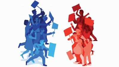 Eine Illustration zeigt zwei sich gegenüberstehe Gruppen mit Megafonen und Transparenten. (imago images / Ikon Images / Harry Haysom)