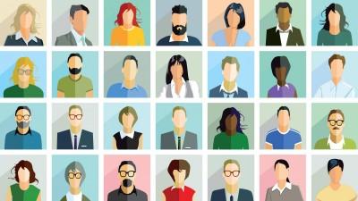 Eine Illustration zeigt stilisierte Porträts unterschiedlicher Menschen. (imago images / Panthermedia / scusi)