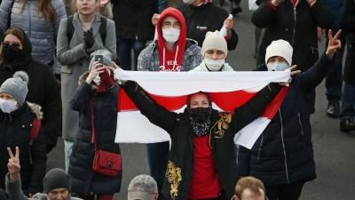 18.10.2020, Belarus, Minsk:Demonstration der Opposition gegen Lukaschenko und für Demokratie (TASS)