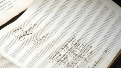 """Die Original-Partitur der Oper """"Zanaida"""" von Johann Christian Bach (1735-1782), dem jüngsten Sohn des einstigen Thomaskantors Johann Sebastian Bach (1685-1750) (imago/epd)"""
