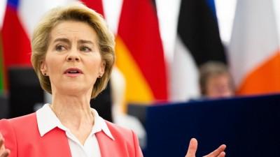 Die neue EU-Kommissionschefin Ursula von der Leyen hält eine Rede vor dem EU-Parlament in Straßburg. (picture alliance/Philipp von Ditfurth/dpa)