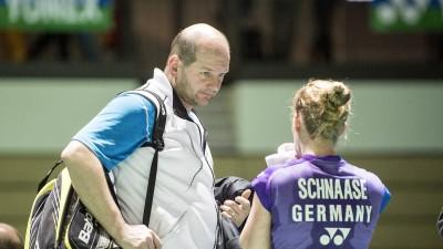 Holger Hasse als Badminton-Bundestrainer mit Spielerin Karin Schnaase bei den Olympischen Spielen in Rio (imago/Simon)