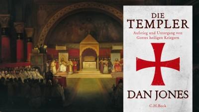 Buchcover/Hintergrund: Gemälde derKapitelversammlung der Templer (Buchcover C.H.Beck Verlag/ Hintergrund picture alliance Kapitelversammlung der Templer)