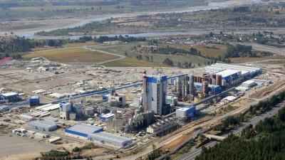Blick auf die Zellulose-Fabrik in Nueva Aldea, Chile.  (imago / William Henry)