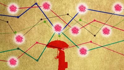 Illustration einer Wirtschaftsstatistik, die mit Coronavirus-Symbolen durchsetzt ist. Durch die Grafen der Statistik geht ein Mann mit Regenschirm. (imago/Science Photo Library/Gary Waters)
