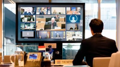 Der niederländische Minister Wopke Hoekstra während einer Videokonferenz mit den EU-Finanzministern in Den Haag, Niederlande (picture alliance/dpa - ANP)