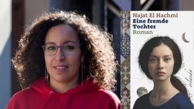 """Die Schriftstellerin Najat El Hachmi und ihr Buch """"Eine fremde Tochter"""" (Foto: Alex Akeru, Buchcover: Orlanda Verlag)"""