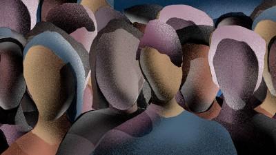 Die Illustration zeigt eine Gruppe von Menschen als Schemen, eng zusammenstehend. Die Gesichter der Menschen sind leer und sie ähneln den Köpfen von gesichtslosen Schaufensterpuppen. (Illustration: Dragan Denda)