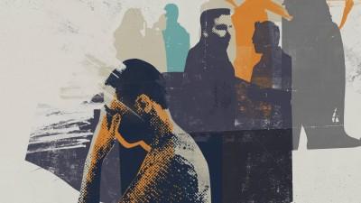 Eine Illustration zeigt einen Mann derunter Sozialphobie leidet. (Imago / Ikon Images / Stuart Kinlough)