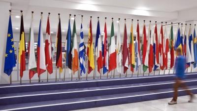 Flaggen imEuropäischen Parlament in Brüssel (picture alliance / Photoshot /  Fabio Mazzarella)