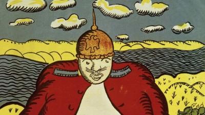 Eine russische Karikatur aus dem ersten Weltkrieg. Abgebildet ein beleibter Deutscher mit Pickelhaube. (picture alliance / akg)