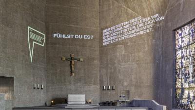 """St. Gertrud Köln, """"Fluch und Segen """", Kirchen der Moderne, Eine Ausstellung des M:AI NRW, (Michael Rasche)"""
