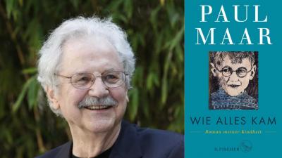 Der Schriftsteller Paul Maar und seine Kindheitserinnerungen (Cover Fischer Verlag / Portrait Paul Maar (c)  Marcel Domeier)