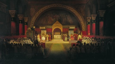 Gemälde derKapitelversammlung derTempler. Ein sakraler Raum ist gefüllt mit Menschen. Auf dem Altar stehen verschiedene Personen in Ordenskleidung.  (picture alliance / akg)