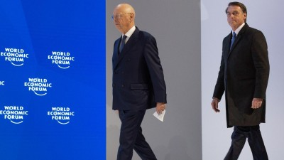 """Jair Bolsonaro, President of Brazil and Klaus Schwab, Founder and Executive Chairman, World Economic Forum during the Session: """"Special Address by Jair Bolsonaro, President of Brazil"""" at the Annual Meeting 2019 of the World Economic Forum in Davos, January 22, 2018. Congress Centre – Congress Hall Copyright by World Economic Forum / Christian Clavadetscher (Christian Clavadetscher)"""
