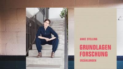 Collage Hintergrund: Stockfoto, Vordergrund: Buchcover und Autorin Anke Stelling (Nane Diehl)