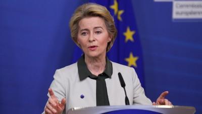 """EU-Kommissionspräsidentin Ursula von der Leyen spricht im Dezember 2019 in Brüssel über den """"Green Deal"""". (picture alliance / Zheng Huansong)"""