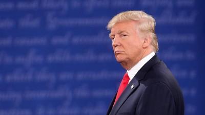 Porträtaufnahme von US-Präsident Donald Trump während seines TV-Duells mit der demokratischen Kandidatin Hillary Clinton. (Imago / ZUMA Press)