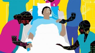 Grafik einer Situation auf einer Intensivstation im Krankenhaus: Pflegekräfte betreuen eine Patientin in ihrem Bett. (imago/Josh McKible)