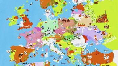 Illustrierte Karte der europäischen Kultur und Tierwelt. (imago / Ikon Images / Christopher Corr)
