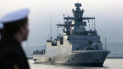 """Die Korvette """"Ludwigshafen am Rhein"""" beteiligt sich an der EU-Operation """"Sophia"""" vor Libyen (dpa/picture alliance/Bernd Wüstneck)"""